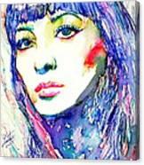Juliette Greco - Colored Pens Portrait Canvas Print