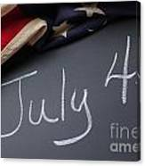 July 4 Sign On Chalkboard Canvas Print