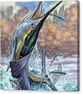 Jumping Sailfish And Flying Fishes Canvas Print