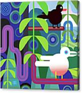 Jungle Vector Illustration With Birds Canvas Print