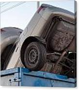 Junk Cars In Dumpster Cash For Clunkers Canvas Print
