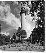 Jupiter Inler Lighthouse In Black And White Canvas Print