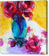 Just Past Bloom - Roses Still Life Canvas Print