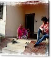 Just Sitting 3 - Family Portrait - Indian Village Rajasthani Canvas Print