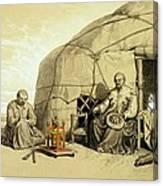 Kalmuks With A Prayer Wheel, Siberia Canvas Print