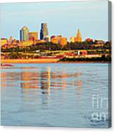 Kansas City Downtown From Kaw Point Canvas Print