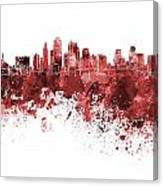 Kansas City Skyline In Red Watercolor On White Background Canvas Print