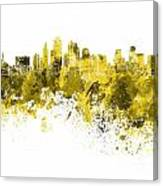 Kansas City Skyline In Yellow Watercolor On White Background Canvas Print