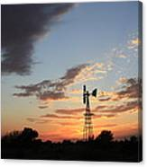 Kansas Golden Sky With A Windmill Canvas Print