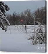 Kansas Snowy Landscape Tree's And Fence Canvas Print