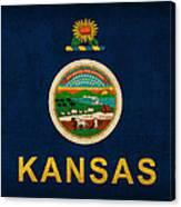 Kansas State Flag Art On Worn Canvas Canvas Print