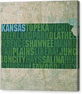 Kansas Word Art State Map On Canvas Canvas Print