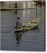 Kashmiri Men Rowing Many Small Wooden Boats In The Waters Of The Dal Lake Canvas Print