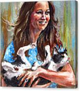 Kate Middleton Duchess Of Cambridge And Her Royal Baby Cat Canvas Print