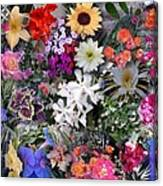 Kathy's Flowers Collage Canvas Print