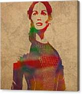 Katniss Everdeen From Hunger Games Jennifer Lawrence Watercolor Portrait On Worn Parchment Canvas Print