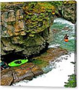 Kayakers In Maligne Canyon In Jasper Np-alberta Canvas Print