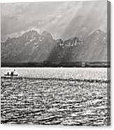 Kayakers On Jackson Lake Canvas Print