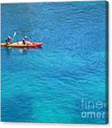 Kayaking At Calanque De Port Miou In Cassis France Canvas Print