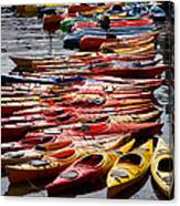 Kayaks At Rockport Canvas Print
