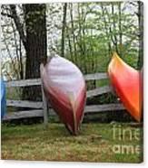 Kayaks On Fence 2 Canvas Print