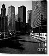 Kayaks On The Chicago River - Black Canvas Print