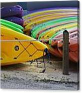 Kayaks Stacked Canvas Print