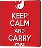 Keep Calm Yinyang Red Canvas Print