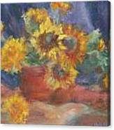 Keep On The Sunny Side - Original Contemporary Impressionist Painting - Sunflower Bouquet Canvas Print