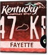 Kentucky License Plate Canvas Print