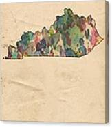 Kentucky Map Vintage Watercolor Canvas Print