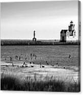 Kewaunee Lighthouse In Bandw Canvas Print