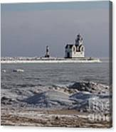 Kewaunee Lighthouse In Winter Canvas Print