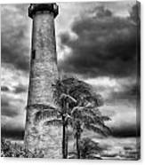 Key Biscayne Fl Lighthouse Black And White Img 7167 Canvas Print