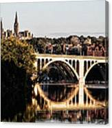 Key Bridge And Georgetown University Washington Dc Canvas Print
