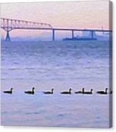 Key Bridge And Waterfowl Canvas Print