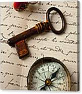Key Ring And Compass Canvas Print