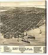 Key West Florida Map 1884 Canvas Print