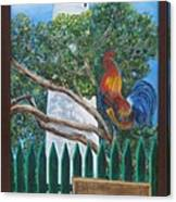 Key West Lighthouse Rooster Canvas Print