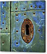 Keyhole On A Blue And Green Door Canvas Print
