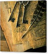 Keys And Quill On Old Papers Canvas Print