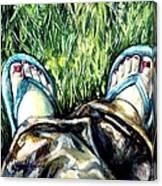 Khaki Pants And Flip Flops Canvas Print