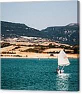 Kid Sailing On A Lake Canvas Print