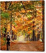 Kid With Backpack Walking In Fall Colors Canvas Print