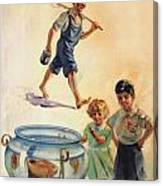 Kids And Fishing  1934 Canvas Print