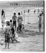 Kids At Beach Canvas Print