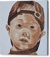 Kids In Hats - Young Baseball Fan Canvas Print