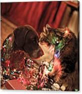 Kiss At Christmas Canvas Print