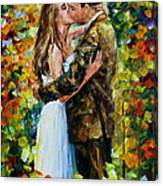 Kiss In The Woods Canvas Print