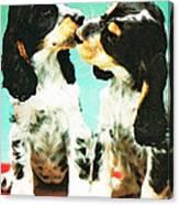 Kiss Me - Cocker Spaniel Art By Sharon Cummings Canvas Print